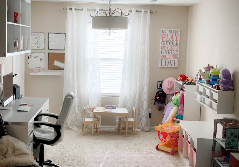 Office and playroom ikea hack