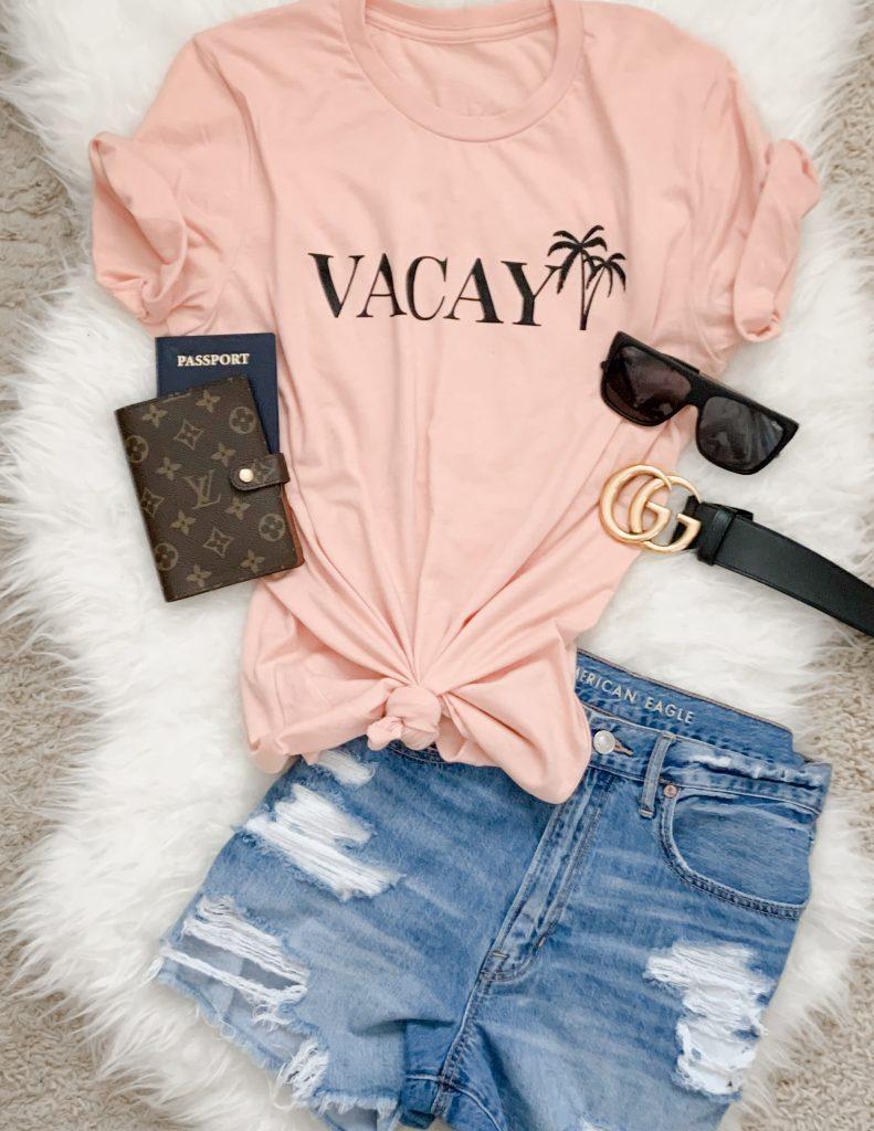 Pink Lily Vacay Graphic Tee Shirt